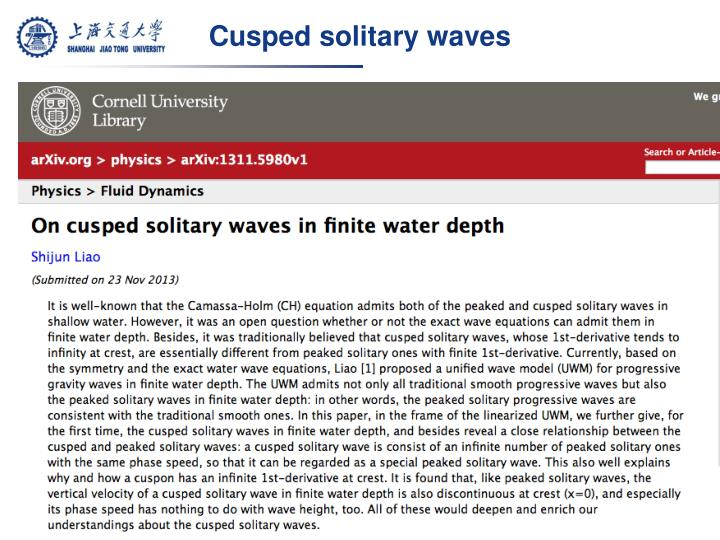 Cusped solitary waves