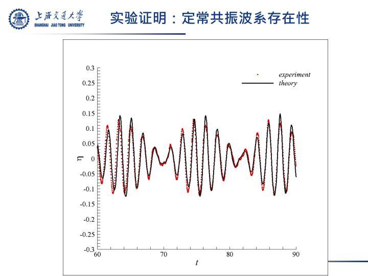 实验证明:定常共振波系存在性