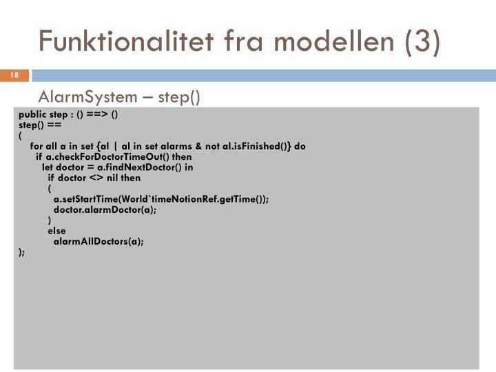 Funktionalitet fra modellen (3)