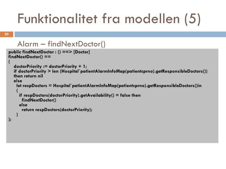 Funktionalitet fra modellen (5)