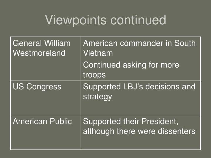 Viewpoints continued