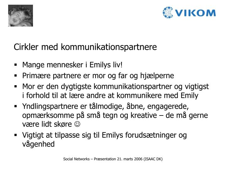 Cirkler med kommunikationspartnere
