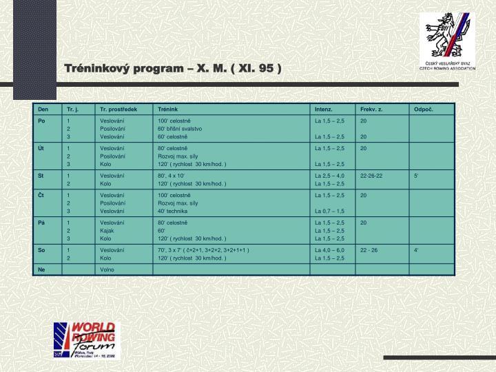 Tréninkový program – X. M. ( XI. 95 )