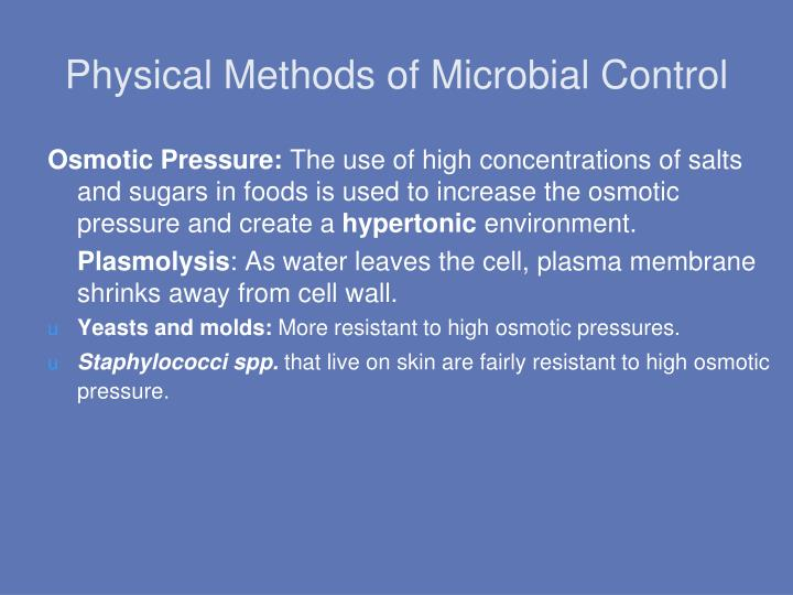 Physical Methods of Microbial Control