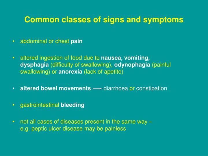 Common classes of signs and symptoms