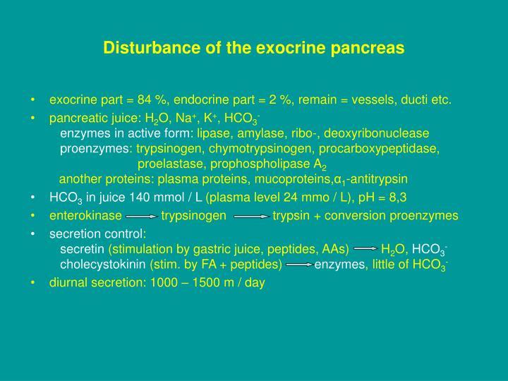 Disturbance of the exocrine pancreas