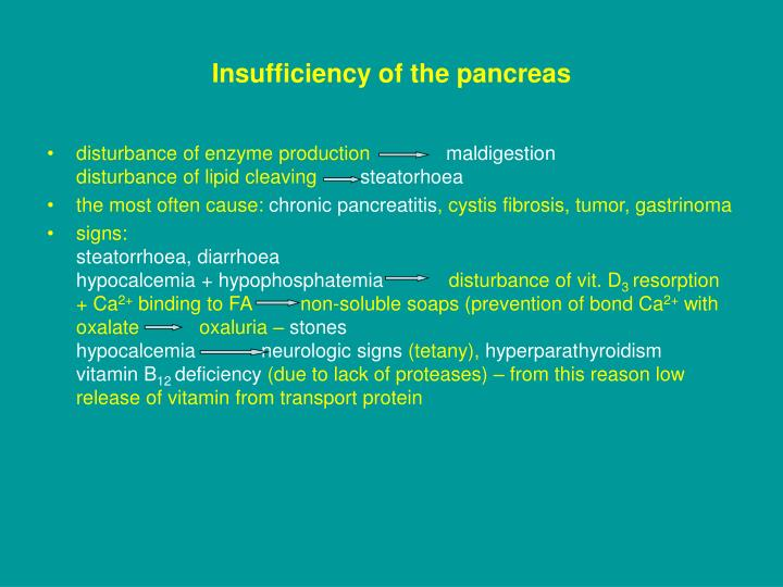 Insufficiency of the pancreas