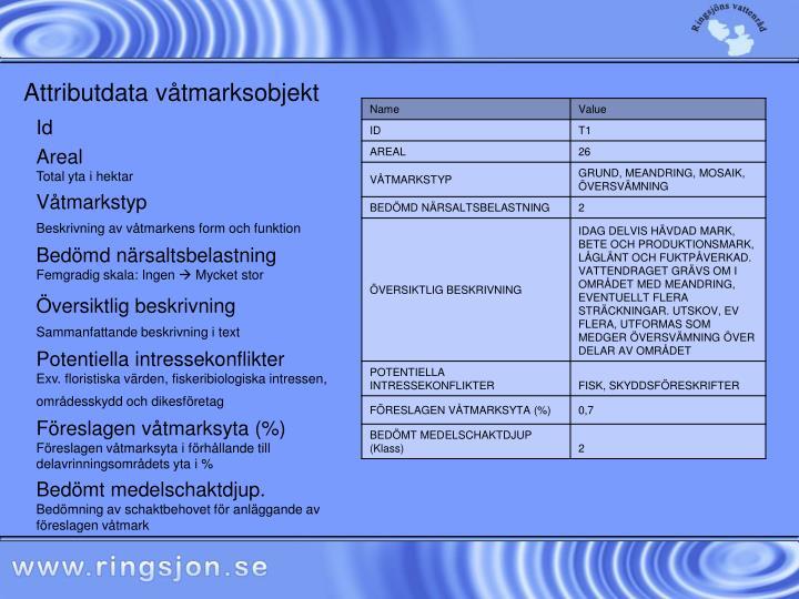 Attributdata våtmarksobjekt