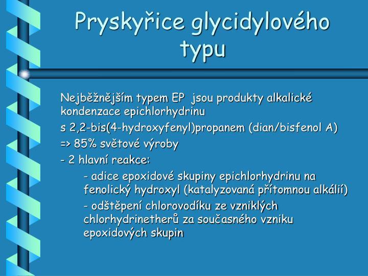 Pryskyřice glycidylového typu