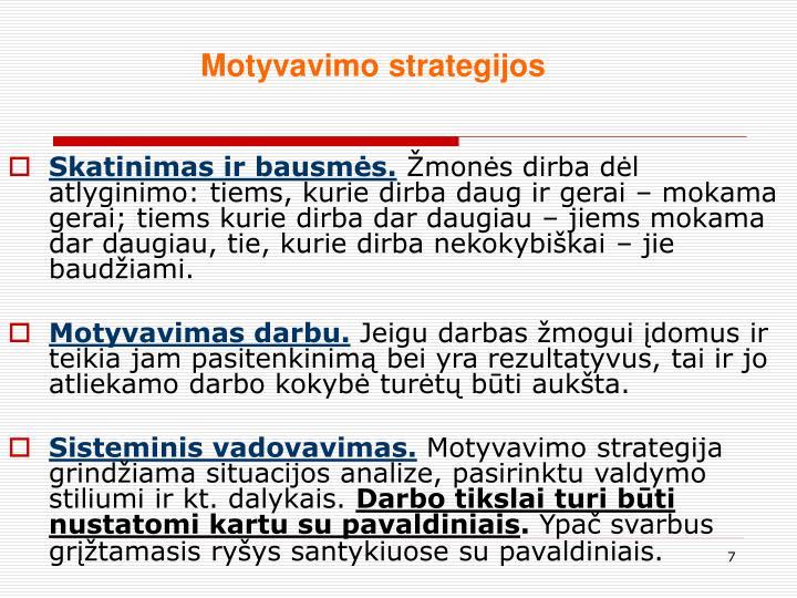 Motyvavimo strategijos