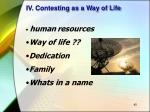 iv contesting as a way of life