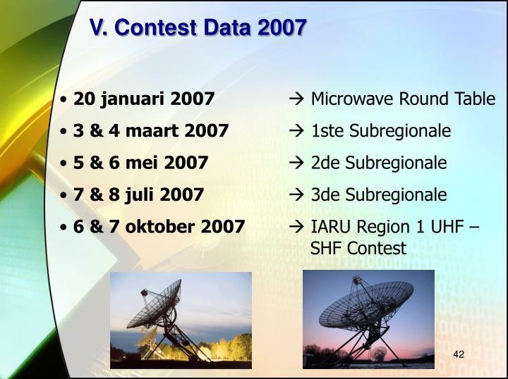V. Contest Data 2007