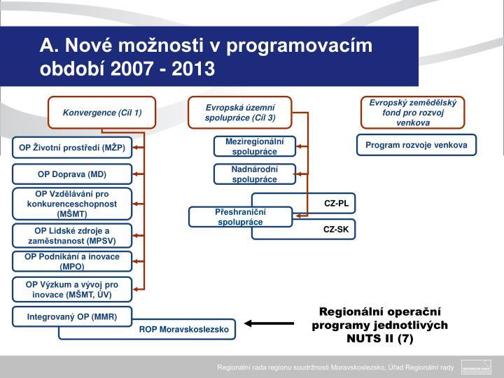 A. Nové možnosti v programovacím období 2007 - 2013
