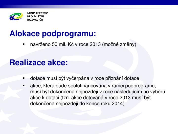 Alokace podprogramu: