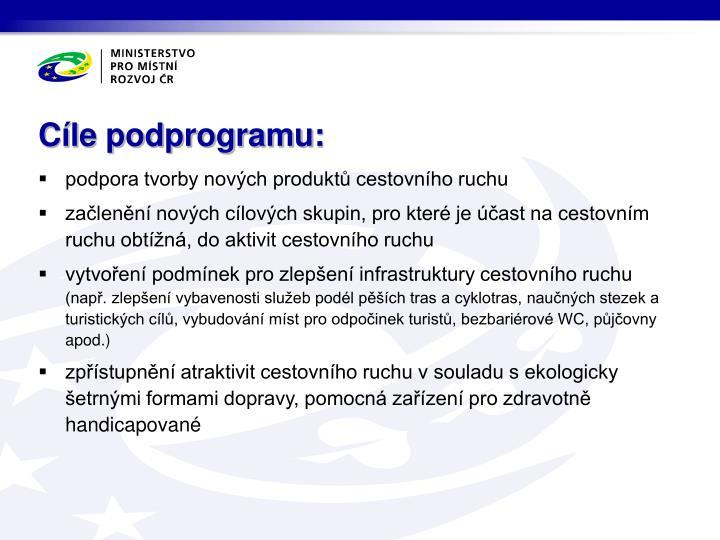 Cíle podprogramu: