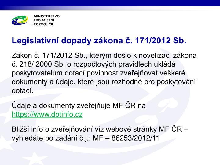 Legislativní dopady zákona č. 171/2012 Sb.