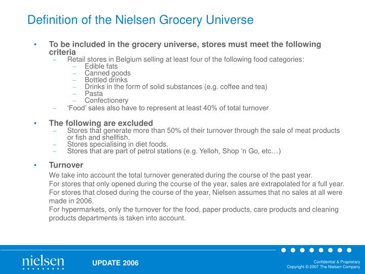 Definition of the nielsen grocery universe