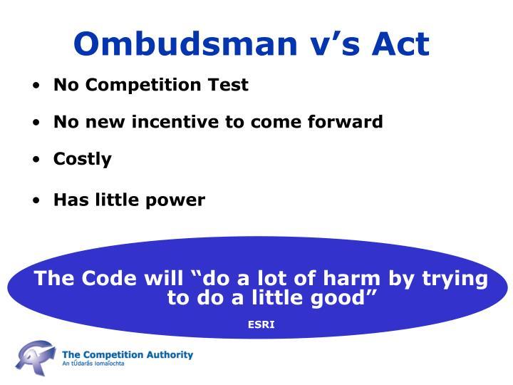Ombudsman v's Act
