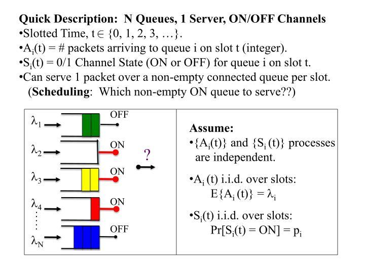 Quick Description:  N Queues, 1 Server, ON/OFF Channels