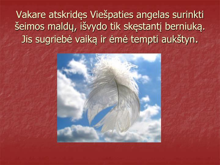 Vakare atskridęs Viešpaties angelas surinkti šeimos maldų,