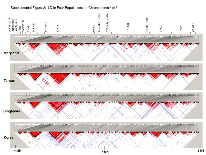 Supplemental Figure 2:  LD in Four Populations on Chromosome 4p16