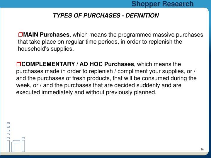 TYPES OF PURCHASES - DEFINITION
