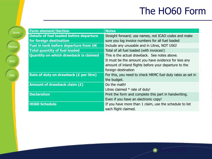The HO60 Form