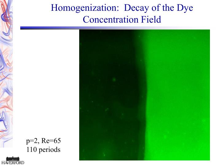 Homogenization:  Decay of the Dye Concentration Field