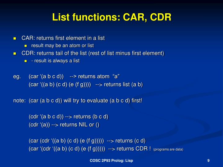 List functions: CAR, CDR