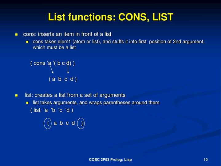 List functions: CONS, LIST