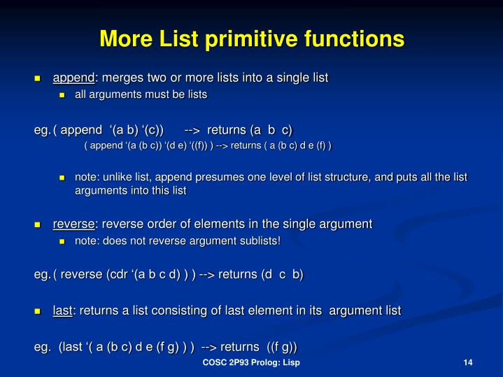 More List primitive functions