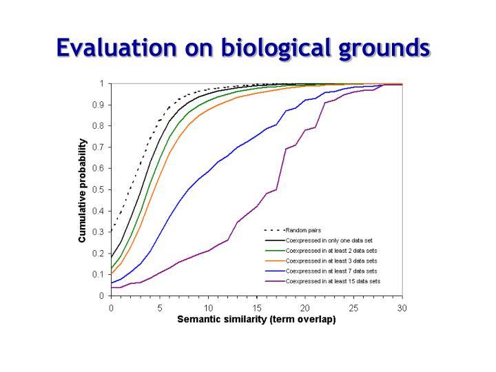 Evaluation on biological grounds