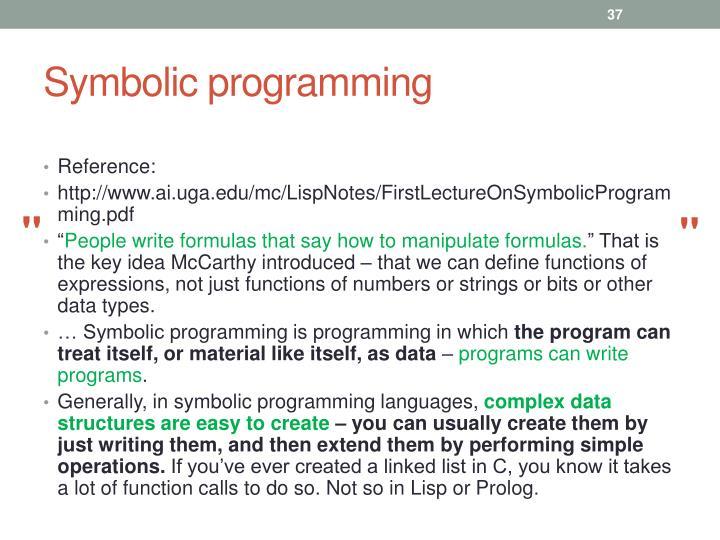Symbolic programming