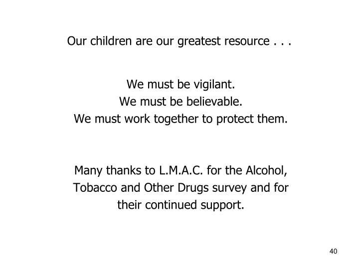 Our children are our greatest resource . . .