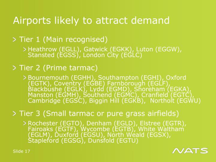 Airports likely to attract demand