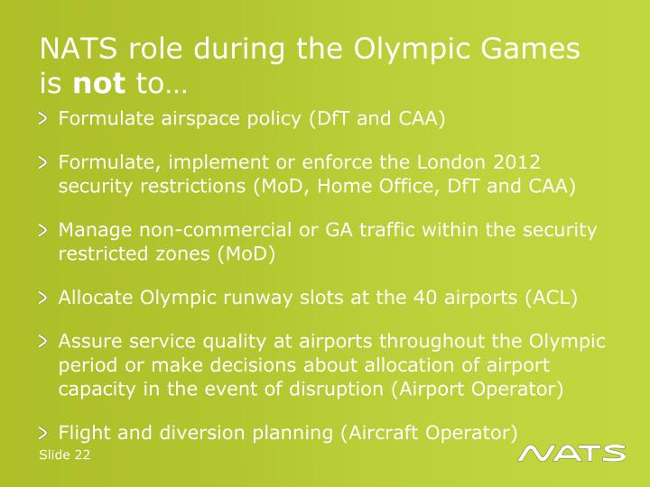 NATS role during the Olympic Games is
