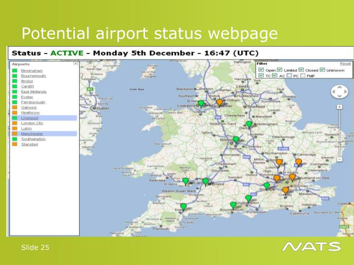 Potential airport status webpage