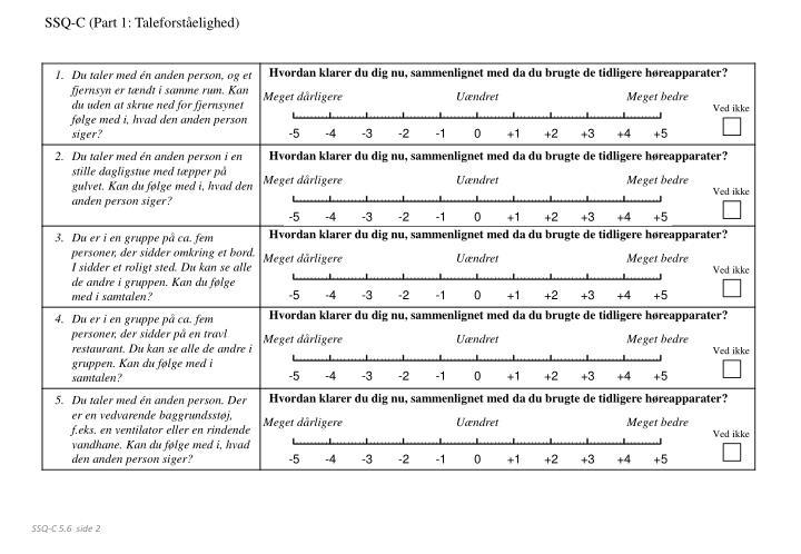 SSQ-C (Part 1: Taleforståelighed)