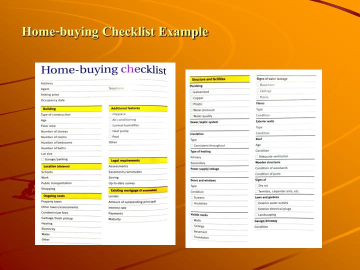 Home-buying Checklist Example