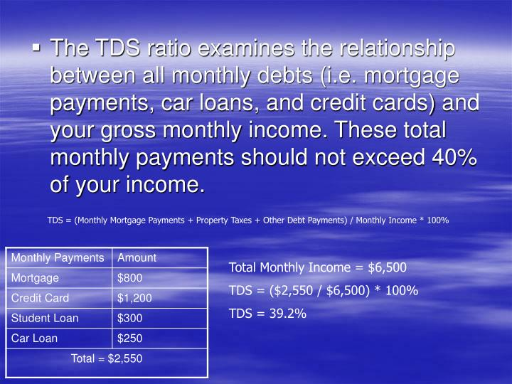 The TDS ratio examines the relationship between all monthly debts (i.e. mortgage payments, car loans, and credit cards) and your gross monthly income. These total monthly payments should not exceed 40% of your income.