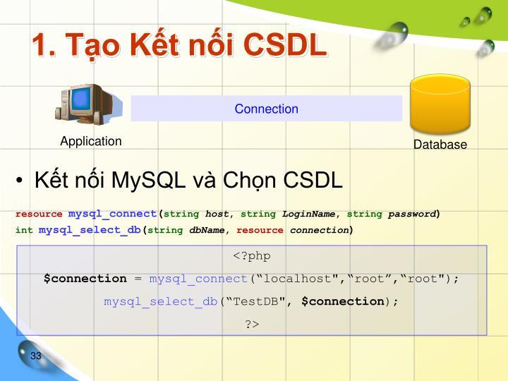 1. Tạo Kết nối CSDL