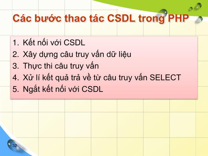 Các bước thao tác CSDL trong PHP