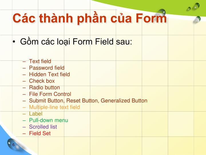 Các thành phần của Form