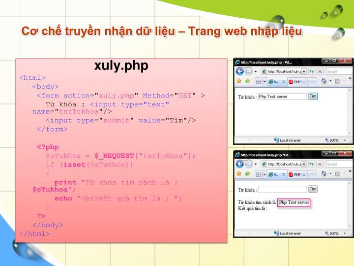 Cơ chế truyền nhận dữ liệu – Trang web nhập liệu