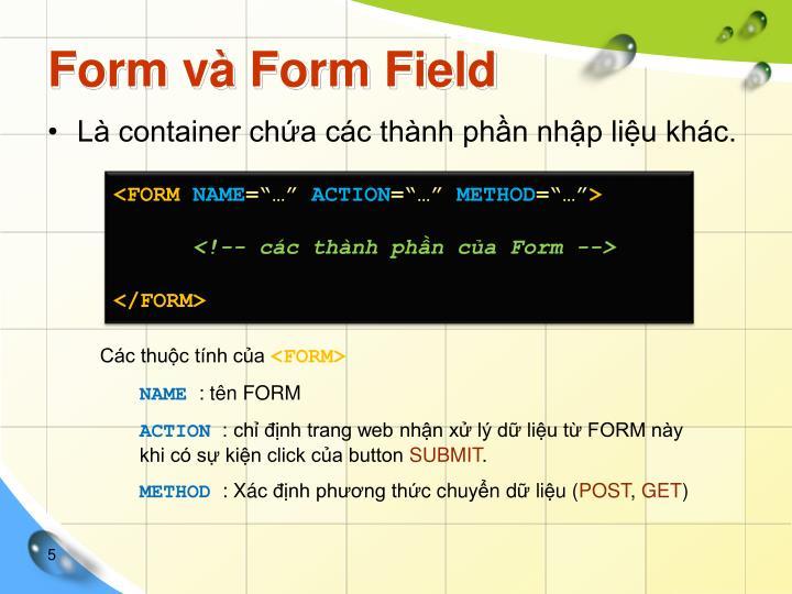 Form và Form