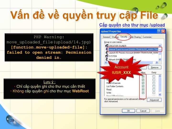 Vấn đề về quyền truy cập File