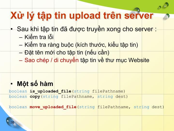 Xử lý tập tin upload trên server