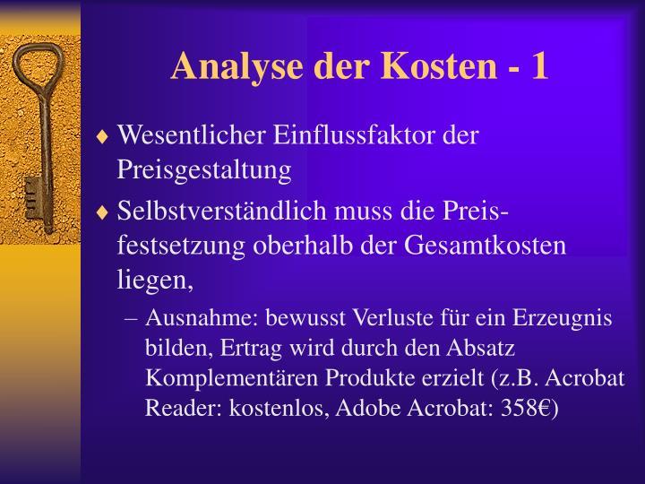 Analyse der Kosten - 1
