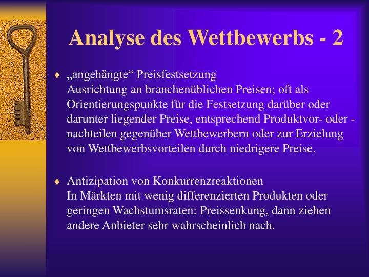 Analyse des Wettbewerbs - 2