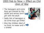 2003 feb to now effect on children of war
